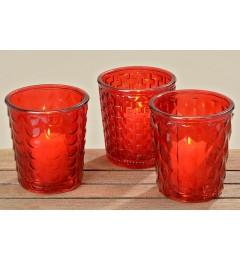 Stakleni fenjer za sveću, saksija Elsa 15x14 cm - crvena