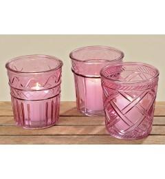 Stakleni fenjer za sveću, saksija Elsa 15x14 cm - roza