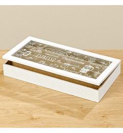 Dvena kutija za kafu, 34 cm - bela