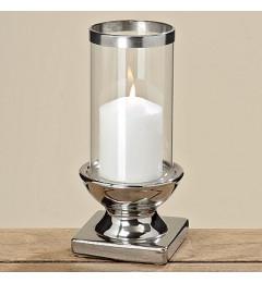 Svećnjak od keramike sa staklenim fenjerom, h22 cm - srebrna