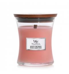 Wood Wick Mirisna sveća u tegli M - Melon Pink Quartz (crveno voće, moringe, dinja, limunov cvet)