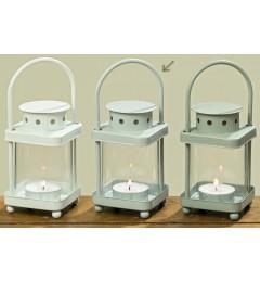 Metalni fenjer za čajnu sveću - sivi