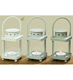 Metalni fenjer za čajnu sveću - beli