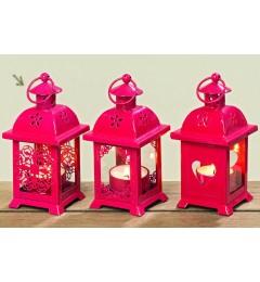 Metalni fenjer za čajnu sveću, 14 cm - crveni