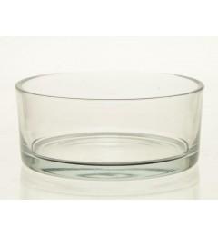 Staklena činija, saksija, svećnjak 19 x 8 cm - transparent