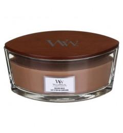 Wood Wick Mirisna sveća u ovalnoj tegli - Golden Milk (egzotični začini, cveće i vanila)