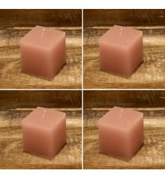 Rustična sveća kocka 5,5x5,5 cm Roza - 4 kom