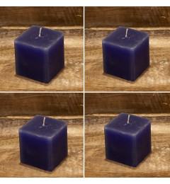 Rustična sveća kocka 5,5 x 5,5 cm Ramno plava - 4 kom