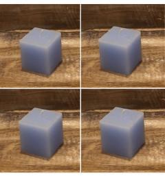 Rustična sveća kocka 5,5 x 5,5 cm Svetlo plava - 4 kom