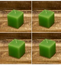 Rustična sveća kocka 5,5 x 5,5 cm Svetlo zelena - 4 kom