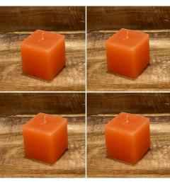 Rustična sveća kocka 5,5 x 5,5 cm Naradžasta - 4 kom