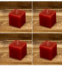 Rustična sveća kocka 5,5x5,5 cm Crvena - 4 kom