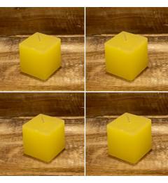 Rustična sveća kocka 5,5 x 5,5 cm Žuta - 4 kom