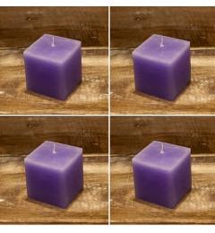 Rustična sveća kocka 5,5 x 5,5 cm Svetlo Ljubičasta - 4 kom