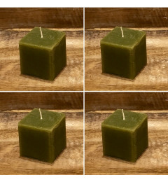 Rustična sveća kocka 5,5 x 5,5 cm Zelena - 4 kom