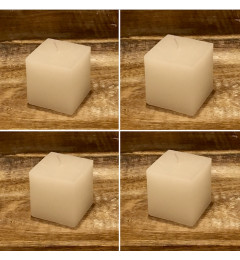 Rustična sveća kocka 5,5x5,5 cm Bela - 4 kom