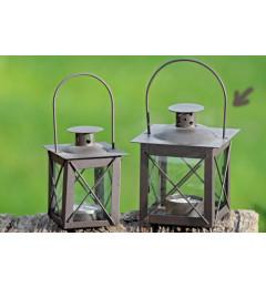 Metalni fenjer za čajnu sveću 12,5x10x12 cm - braon