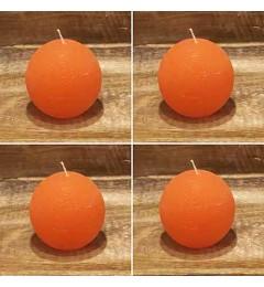 Rustična sveća kugla 6 cm Narandžasta - 4 kom u pakovanju