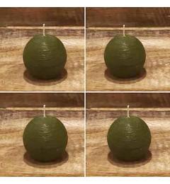 Rustična sveća kugla 6 cm Zelena - 4 kom u pakovanju