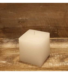 Rustična sveća kocka 9x9 cm Bela - 1 kom