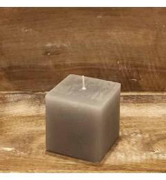 Rustična sveća kocka 7x7 cm Siva - 1 kom