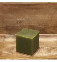Rustična sveća kocka 7x7 cm Zelena - 1 kom