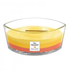 Wood Wick Trilogy Mirisna sveća u ovalnoj tegli - Tropical Sunrise (ananas, mango, grožđe, šljiva, nektarine)