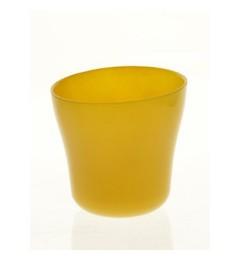 Staklena saksija 13 x 13 cm - oker žuta