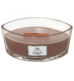Wood Wick Mirisna sveća u ovalnoj tegli - Stone Washed Suede (začini, jasmin, amber i mošus)
